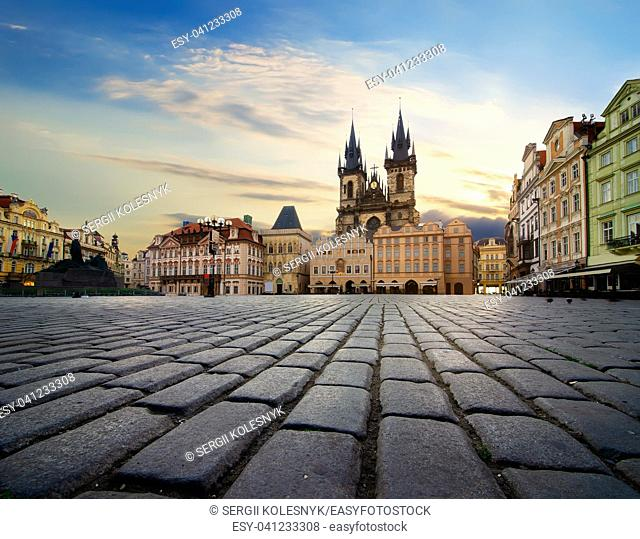 Staromestska square and Tynsky Temple in Prague at sunrise