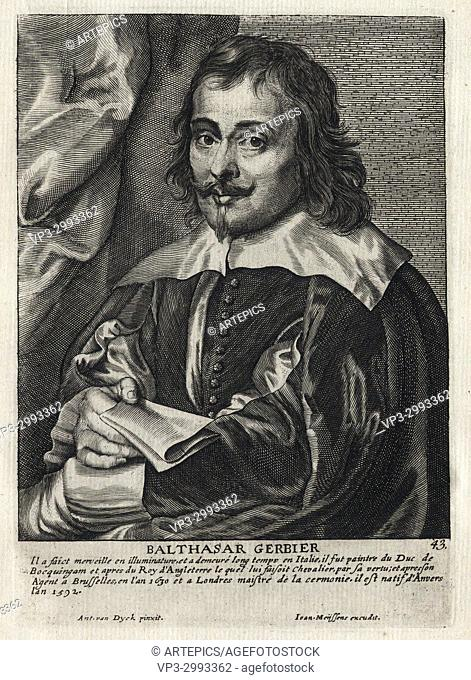 BALTHASAR GERBIER - Woodcut portrait and short biography (old french language) - Engraving 17th century