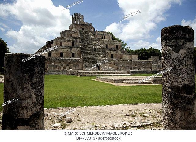 The Building of 5 Stories, Edificio de los Cinco Pisos, at the Mayan archaeological site of Edzna, Yucatan, Mexico, Latin America