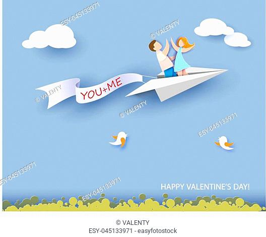 Valentines day card. Abstract background with couple in love flying on paper airplane, hearts and blue sky. Vector illustration