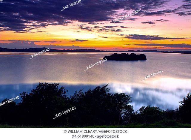 Church Island, Lough Owel, Mullingar, County Westmeath, Ireland, at sunset
