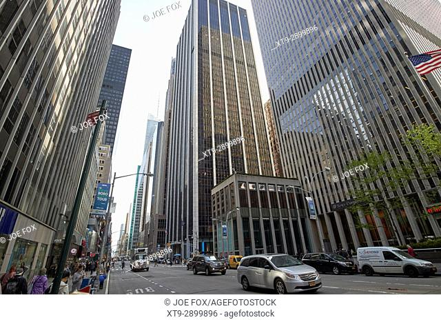 looking south down along sixth avenue from the rockefeller center New York City USA