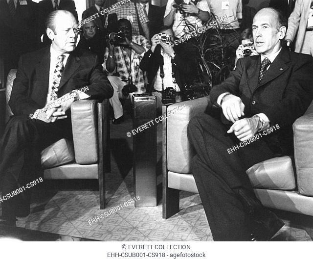 Presidents Valery Giscard d'Estaing and Gerald Ford meeting in Martinique. May 4, 1976. Economic issues of unemployment, inflation