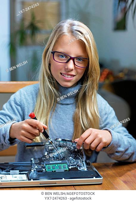 Young teenager practicing science