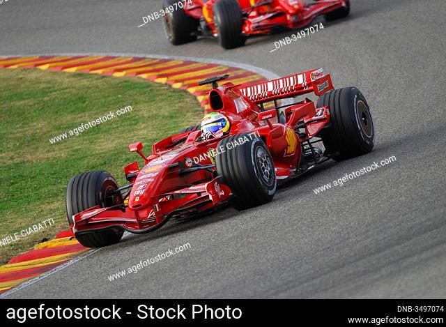MUGELLO, IT, November, 2007: Official Drivers Felipe Massa, Kimi Raikkonen, Luca Badoer and Marc Genè run with Modern Ferrari F1 during Finali Mondiali Ferrari...