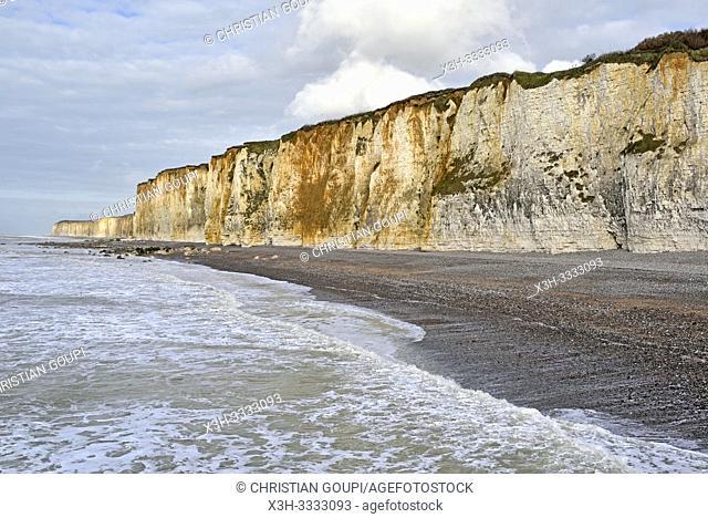 les falaise a Veules-les-Roses, departement de Seine-Maritime, region Normandie, France/cliffs at Veules-les-Roses, Vaucottes hanging valley