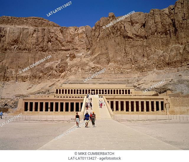 Deir el-Bahri is a complex of mortuary temples and toms located opposite Luxor on the west bank of the river Nile. The Djeser-Djeseru is the mortuary temple of...