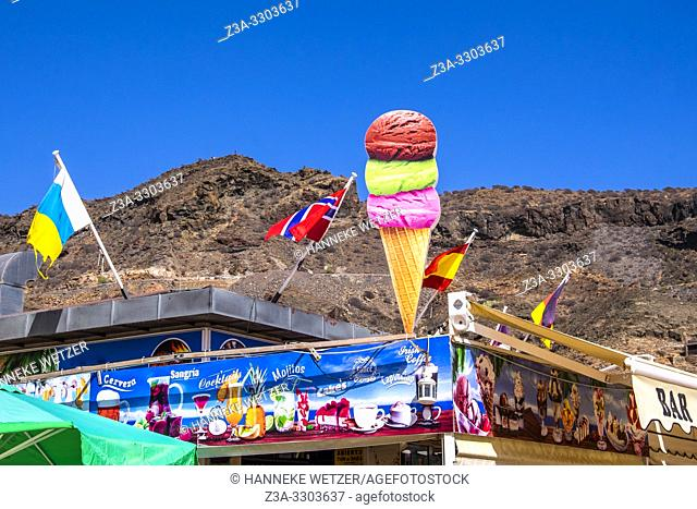 Icecream in front of a mountain in Mogan Gran Canaria, Canary Islands