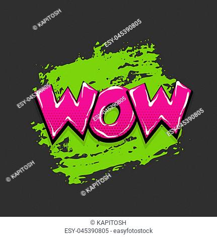 wow hand drawn pictures effects. Template comics grunge speech bubble brush halftone dot background. Pop art style. Comic dialog text cloud
