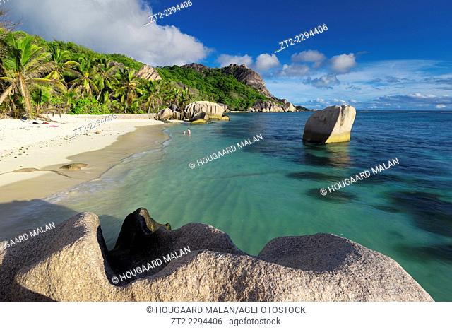 Landscape view of a sunny on the famous Anse source d'Argent beach. La Digue Island, Seychelles