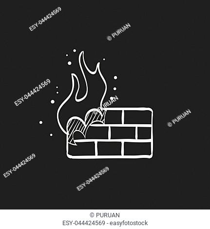 Firewall icon in doodle sketch lines. Computer network, internet protection, antivirus