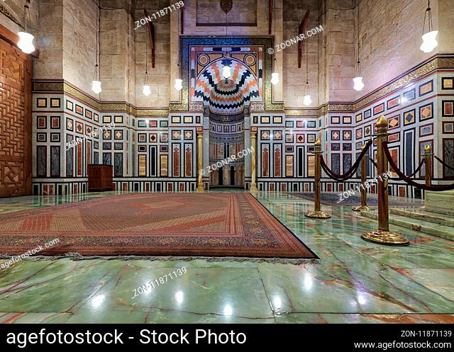 Cairo, Egypt - December 16, 2017: Interior of the tomb of the Reza Shah of Iran, Al Rifaii Mosque (Royal Mosque), located in front the Cairo Citadel
