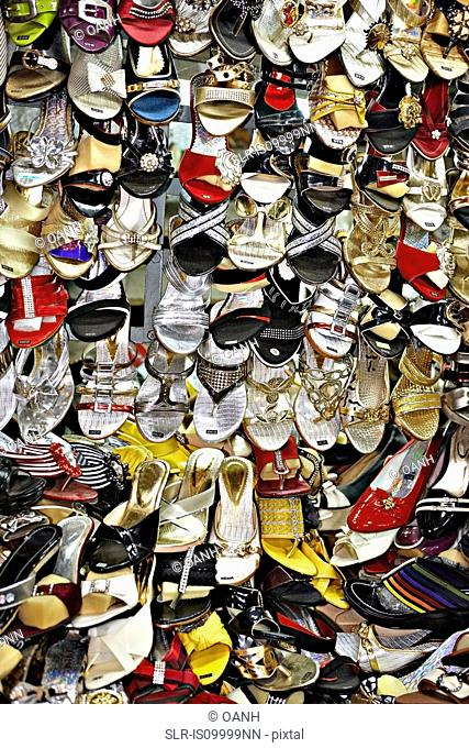 Womens shoes for sale at market, Hue, Vietnam
