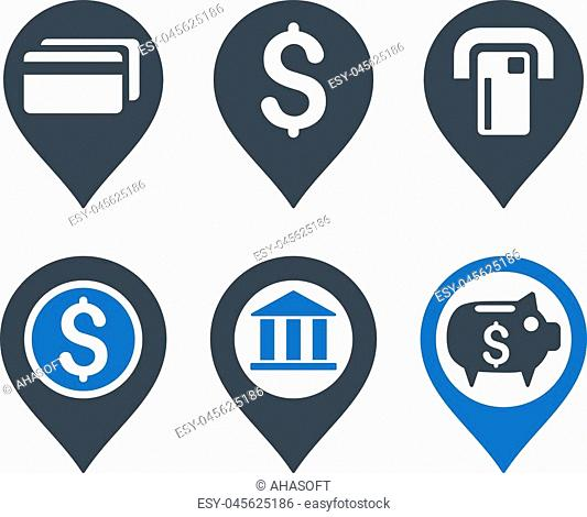 Banking Map Pointer vector icons. Icon style is bicolor smooth blue flat symbols with rounded angles on a white background