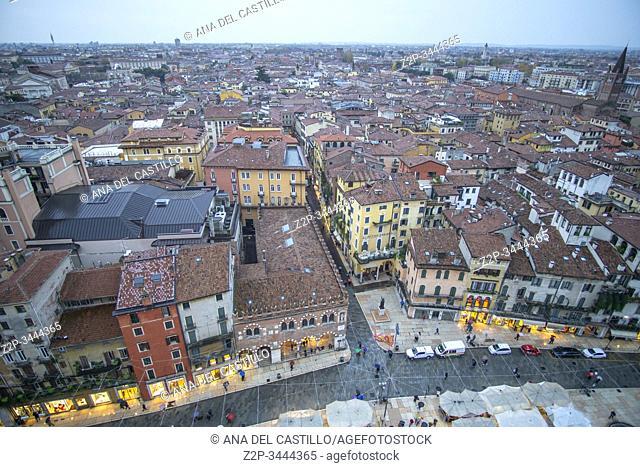 Verona Veneto on November 23, 2019: Verona from Lamberti tower