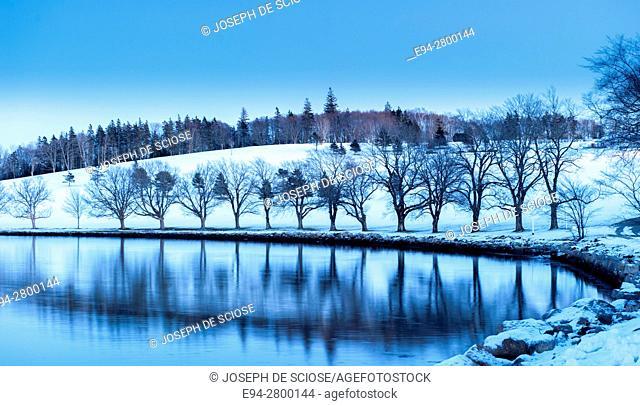 Winter scene on Mahone Bay in Lunenburg, Nova Scotia, Canada