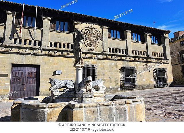 Plaza del Populo, Fountain of the Lions and Antigua Carniceria, Baeza, Jaen province, Spain