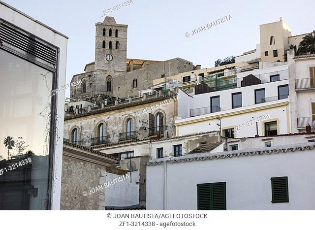 Historic area, Dalt Vila, fortified upped town,UNESCO world heritage site. Ibiza, Spain