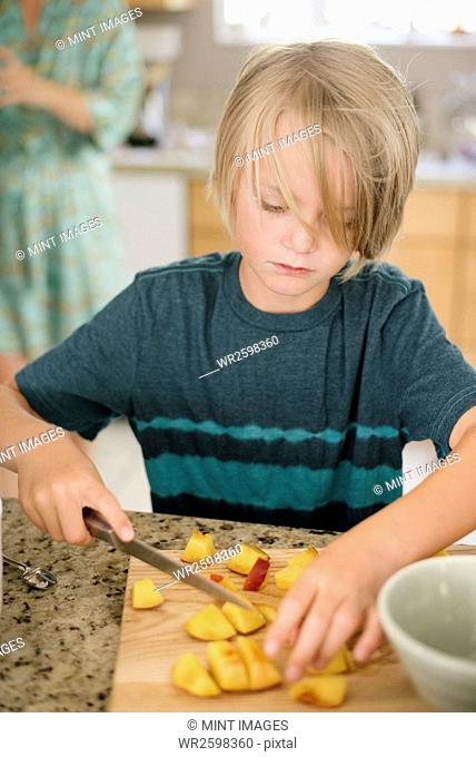 Family preparing breakfast in a kitchen, boy cutting fruit