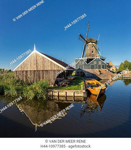 Netherlands, Holland, Europe, IJlst, Friesland, windmill, water, summer, Woodcutting windmill, Rat