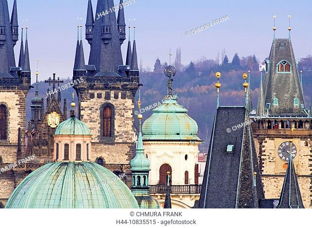 Czech Republic, Prague, old town, Tyn church, roofs, spires, tower, city