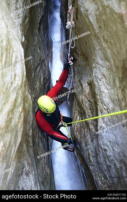 Canyoning in Gorgonchon Canyon, Guara Mountains, Huesca Province, Aragon, Spain