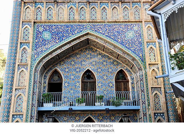 Orbeliani Bathhouse, tiles facade, islamic styled Sulfur Baths, Tbilisi, Georgia - TBILISI, GEORGIA, 29/09/2009