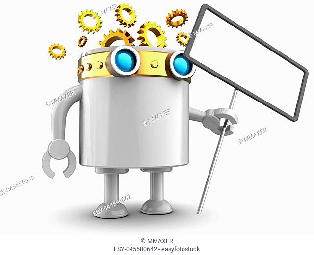 3d illustration of robot with with index over white background