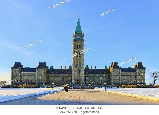 Canadian Parliament Building, Centre Block, in winter, Parliament Hill, Ottawa, Ontario, Canada