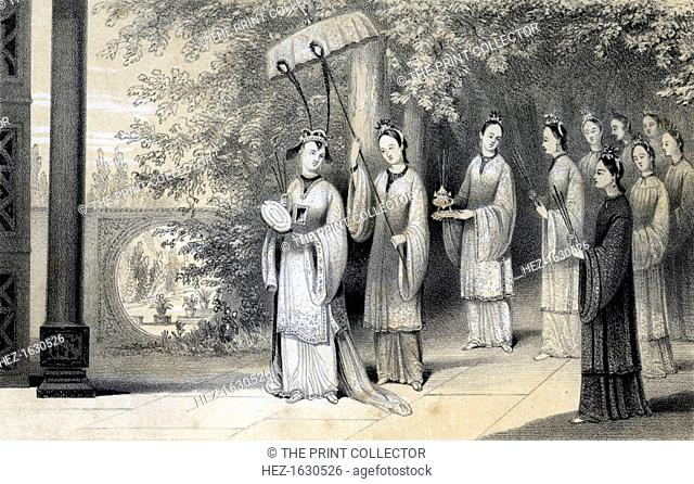 'The empress and her attendants proceeding to the temple from the mulberry grove', 1847. Chinese empress and retinue. Drawn by B Clayton