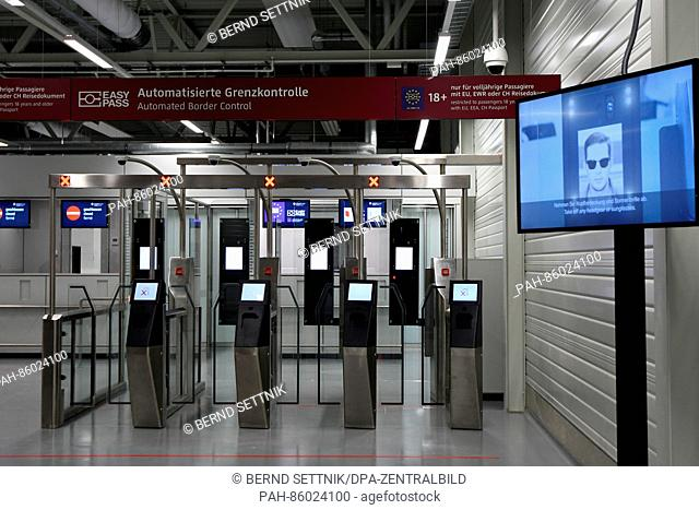 The automated border checkpoint in the newly completed arrival terminal D2 at Schoenefeld Airport inSchoenefeld, Germany, 25 November 2016