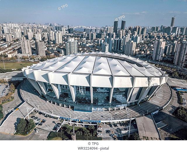 Birds eye view of Shanghai Stadium, Shanghai, China