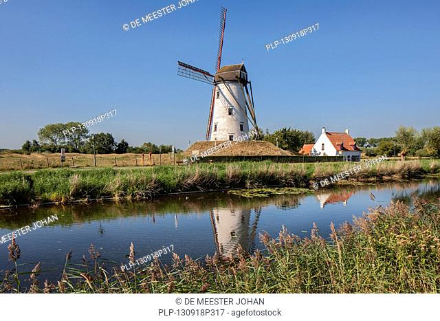 The Schellemolen, traditional windmill along the Damme Canal / Damse Vaart, West Flanders, Belgium