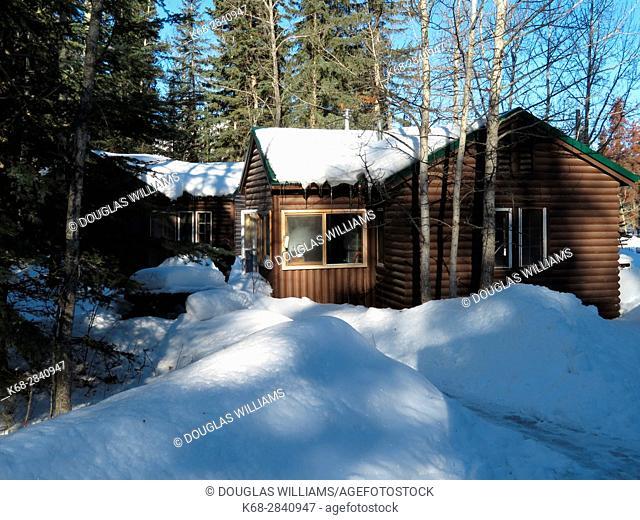 Maligne hostel in winter, Jasper, Alberta, Canada