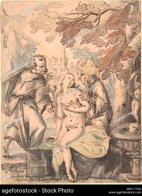 Susanna and the Elders. Artist: Augustin Medow (German, active 1602, recorded after 1622-1660, Lübeck); Date: 1622-60; Medium: Pen and black and brown ink