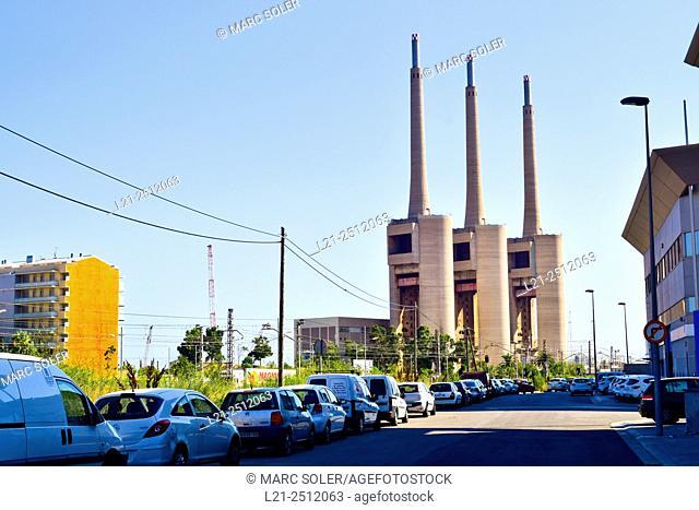Thermal power station, electric power plant, Fecsa-Endesa. Sant Adrià del Besòs, Barcelona province, Catalonia, Spain