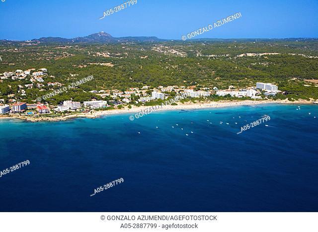 Santo Tomas beach. Aerial view. Minorca. Balearic Islands. Playa Santo Tomas. Vista aerea. Menorca. Islas Baleares