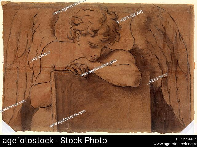 Cartoon Fragment for Adolescent Angel Leaning on a Tablet or Closed Book, ca. 1690-95. Creator: Marc Antonio Franceschini
