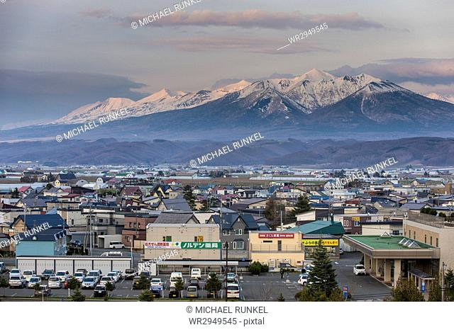 Spectacular view over the Daisetzuan National Park from Furano, Hokkaido, Japan, Asia