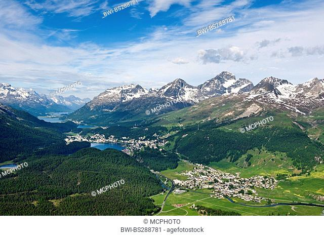 Views of Celerina and St. Moritz from a top Muottas Muragl, Switzerland, Grisons, St. Moritz
