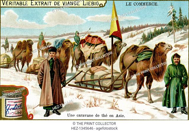 A tea caravan in Asia, c1900. French advertisement for Liebig's extract of meat