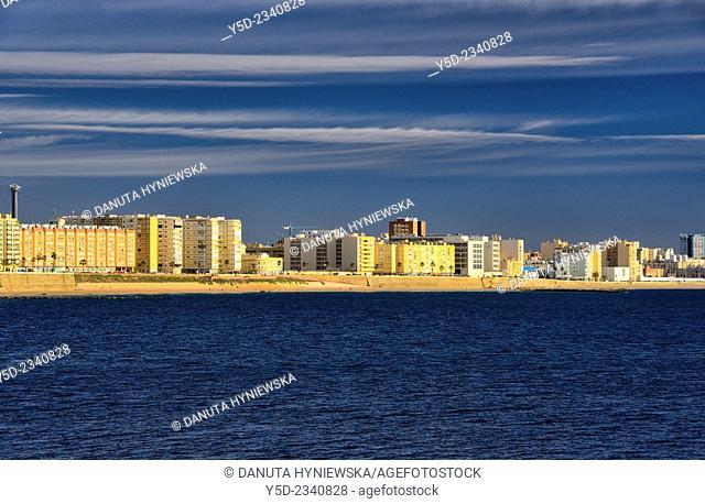 distant view of new part of Cadiz, Cadiz, Andalusia, Spain