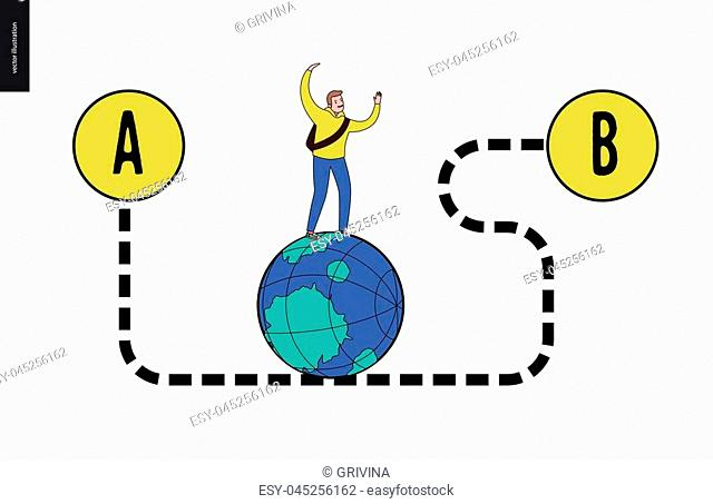 From point A to point B problem, a transportation concept - a young male traveller walking on the globe by the dashed curved way
