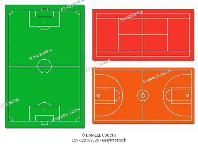 Soccer tennis and basketball fields