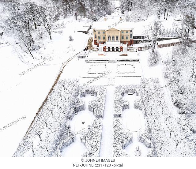 Ornamental garden in winter