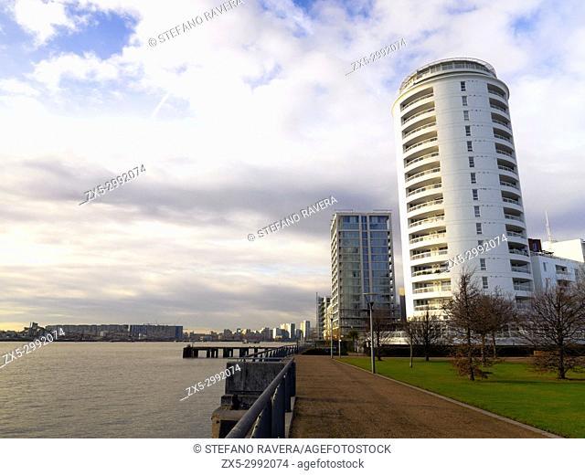 Housing Development building near Thames Barrier Park - London, England