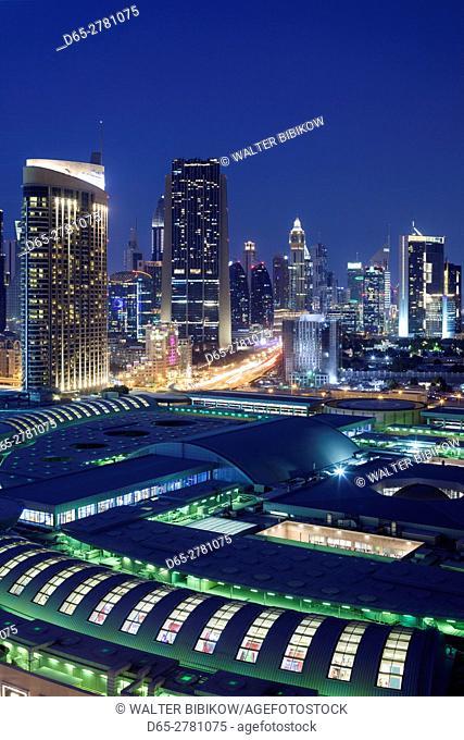 UAE, Dubai, Downtown Dubai, Dubai Mall, elevated view, evening