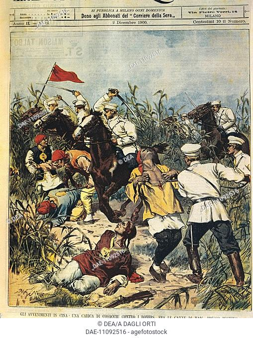 Major events in China: The Cossacks charging on the Boxers. Illustrator Achille Beltrame (1871-1945), from La Domenica del Corriere, 2nd December 1900