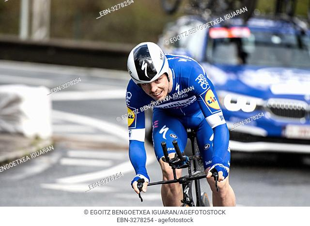 Rémi Cavagna at Zumarraga, at the first stage of Itzulia, Basque Country Tour. Cycling Time Trial race