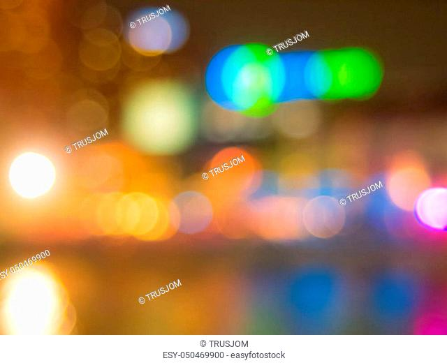 Abstract background blur bokeh light up city in the night
